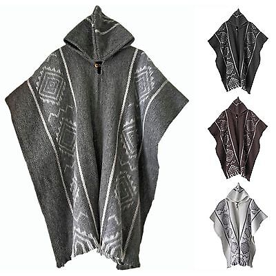Llama Wool Mens Unisex Hooded Handwoven South American Poncho Cape Coat Jacket GroßE Vielfalt