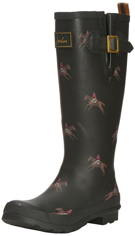 JOULES DESIGNER Damenschuhe HORSE RIDER OLIVE RUBBER WELLIES WELLINGTON BOOTS SIZE 5