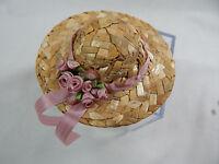 Miniature Barbie Straw Hats 3 Mini Straw Hats Fancy Hand Made Z149 Pink