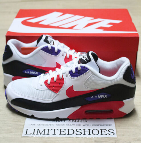 NIKE AIR MAX 90 ESSENTIAL WHITE RED ORBIT PURPLE BLACK AJ1285-106 MENS Raptors