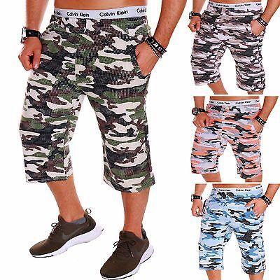 Herren Capri Kurze Hose Bermuda Damen 3/4 Sommer Short Camouflage Army R.b.1.2