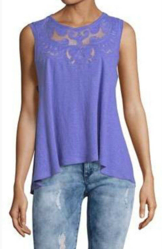Free People OB778759 Meant To Be Knit Sleeveless Mesh Tank Top In Lilac lila