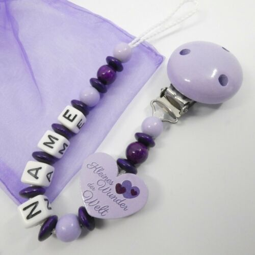 Schnullerkette mit Namen Baby flieder Herz lila kleines Wunder Mädchen