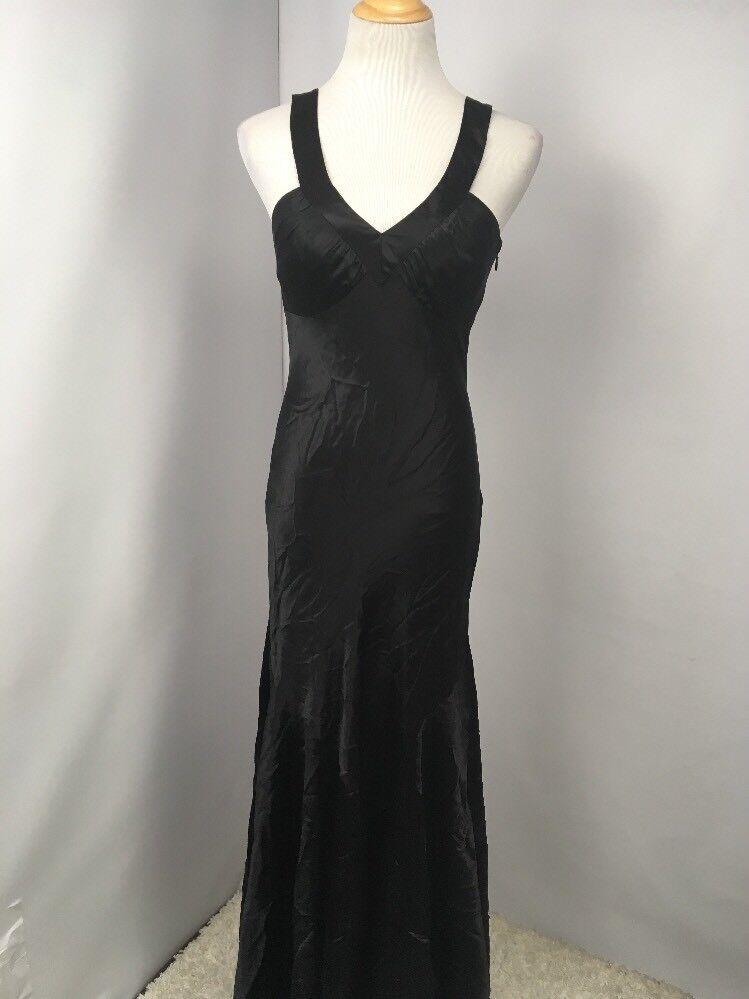 VTG PAPELL Boutique Silk Evening Gown Dress schwarz Backless Sz 2 Ruched-Back Prom