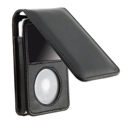 Leather Sleeve Pouch Case w/Belt Clip for iPod Classic 80GB /120GB/160GB (Black)