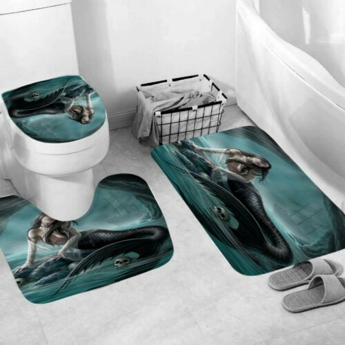 Mermaid Bathroom Rug Set Shower Curtain Thick Bath Mat Non-Slip Toilet Lid Cover