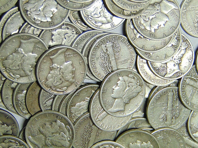 Roll of 50 Mercury Silver Dimes $5 Face Value 90% Silver Dimes (831)