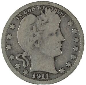 1911-D-BARBER-QUARTER-Nice-Condition-From-Coin-Album-90-Silver-D2