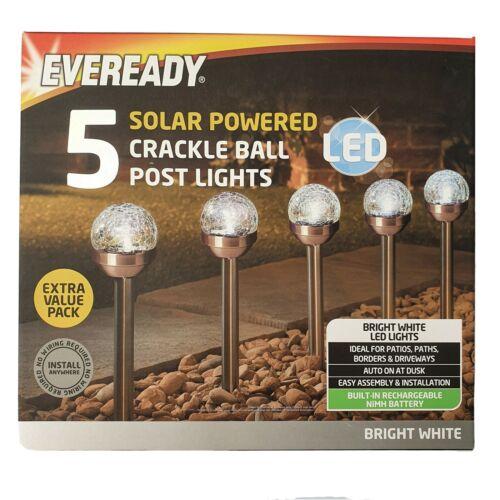 Eveready Bianco 5 LED Energia Solare Luci Giardino CRACKLE BALL Auto On Dusk