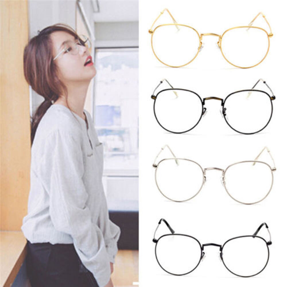 Women Vintage Big Round Metal Frame Clear Lens Eyeglasses Retro Glasses Welcome Clothing, Shoes & Accessories