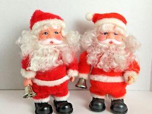 Lot-of-2-Vintage-50-039-s-60-039-s-Christmas-Santa-dancing-musical-bell-ringer-battery