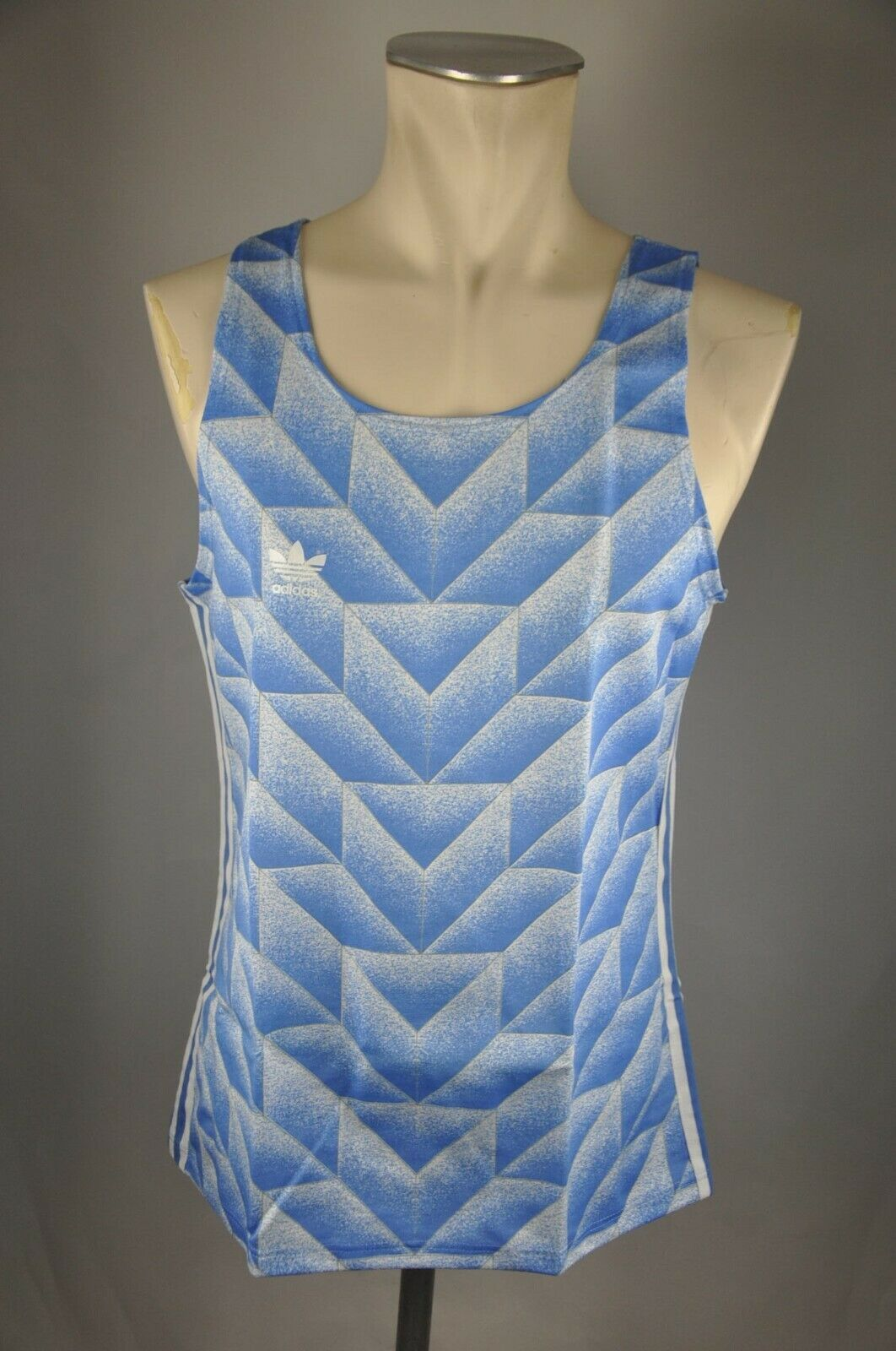 Adidas vintage Achselshirt 80er oldschool Shirt blau Gr. 3 XXS Singet 80s VAD1