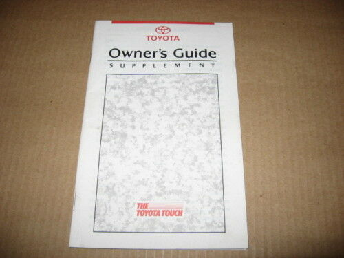 Toyota Original Owner/'s Guide Supplement 1990-1992