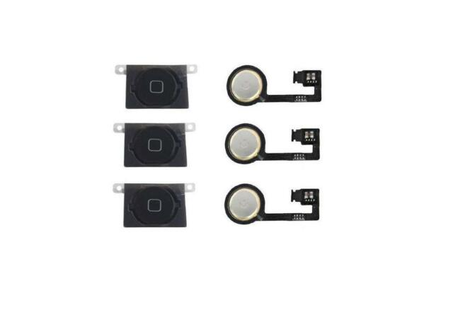 LOT OF 3 NEW BLACK Home Menu Button Flex Cable + Key Cap Assembly for iPhone 4S