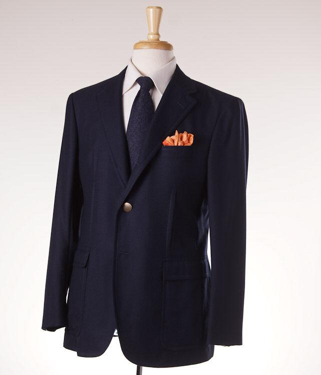 NWT 3695 D'AVENZA Navy Blau Lightweight 100% Cashmere Blazer 40 R Sport Coat
