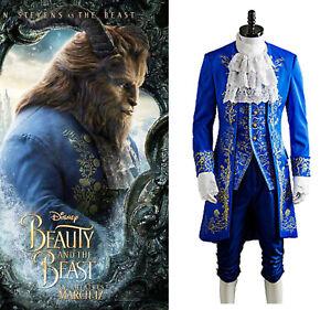 Beauty and the Beast Dan Stevens Prince Cosplay Costume Blue Uniform Full Set