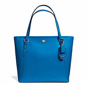 """CrazyBoss"" Coach Bag F27349 Peyton Leather Zip Top Tote Cerulean Agsbeagle"