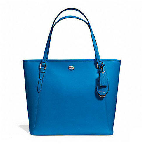 Coach Bag F27349 Peyton Leather Zip Top Tote Cerulean Agsbeagle