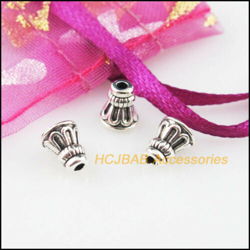 40Pcs Tibetan Silver Tone Tiny Cone Horn Spacer End Beads Connectors 6x7mm