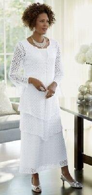 Essie 3-Piece White Dress Skirt Set Ashro Lace Tiered Formal Suit 8 10 12 14 18W