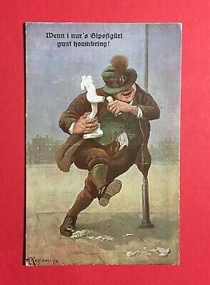 Reklame Ak MÜnchen Um 1930 Hofbräuhaus Betrunkener Mann 48641 Im Sommer KüHl Und Im Winter Warm Bayern