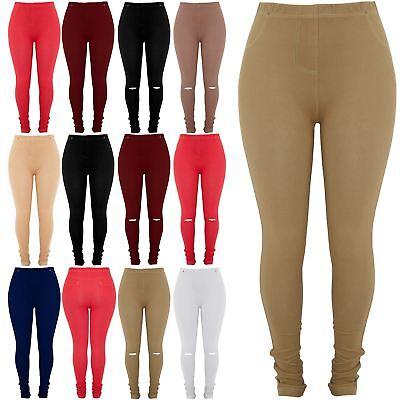 Kraftvoll Plus Size Ladies Womens Pockets Elasticated Full Length Jeggings Denim Leggings Attraktive Mode