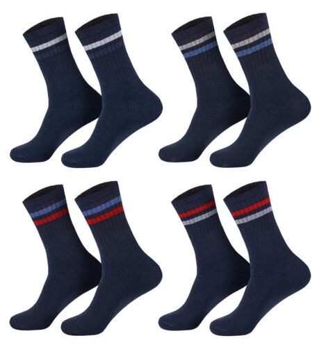 8 oder 16 Paar Sportsocken Blau mit Ringel 39-42//43-46 Tennissocken