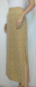 The-Limited-Size-10-Long-Silk-Skirt-Feminine-Red-Floral-on-Beige-Side-Kickpleats