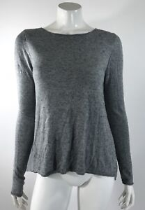 Chelsea-Theodore-Womens-Sweater-Size-Medium-Gray-Sheer-Pleated-Back-Long-Sleeve