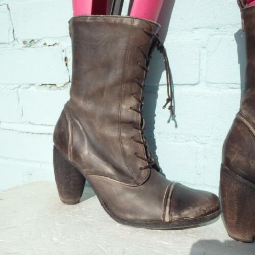 Allsaints Leder Stiefeletten Größe UK 7 EUR 40 Damen Distressed Braun zum Schnüren