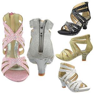 375f2ef816d Image is loading Girls-High-Heel-Pageant-Dress-Sandals-Rhinestone-Studs-