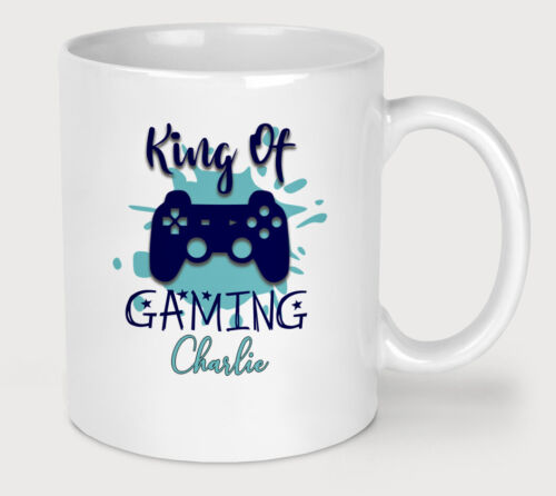 Personalised Gaming King Novelty Coffee Tea Mug Funny Gamer Slogan Gift Cup