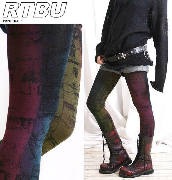 Chic Mystic Cosmic Punk Aurora Rainbow Rubbing Opaque Tights