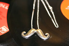 17 inch Long Chain Silver Funky Mustache Whiskers Necklace Swag