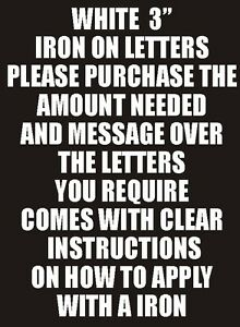 Letters or Numbers Vinyl Printing Two Inch White Iron On Characters