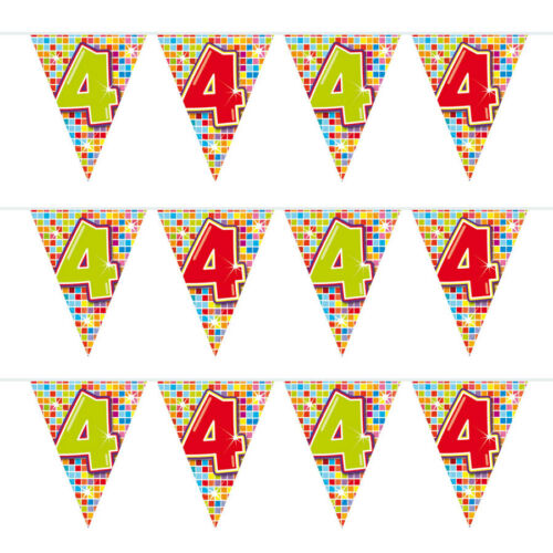 WIMPELKETTE 4 Jahre vierter Geburtstag Girlande Wimpel Zahlen Party Deko F60504