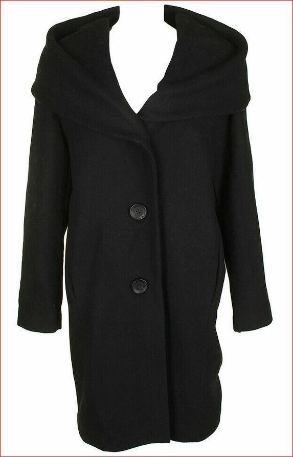 Nueva Chaqueta de  Abrigo de mujer DKNY DL750018 Mezcla De Lana Cuello Chal Negro M MSRP  395  los últimos modelos