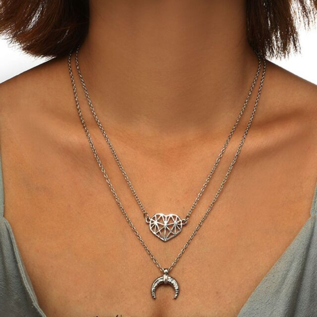 Boho Multilayer Hollow Heart Horn Choker Collar Clavicle Chain Pendant Necklace