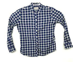 Banana-Republic-Mens-Sz-L-Blue-Plaid-Soft-Wash-Long-Sleeve-Button-Down-Shirt