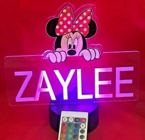 Détails sur Minnie Mouse Disney Light Up Night Light lampe de table DEL Personnalisé Avec Télécommande afficher le titre d'origine