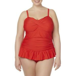 Women-039-s-Tropical-Escape-Rouched-Swim-Dress-Red-Size-20-W