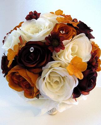 17 piece Wedding Flowers Bridal silk Bouquet BURGUNDY WINE BURNT ORANGE package