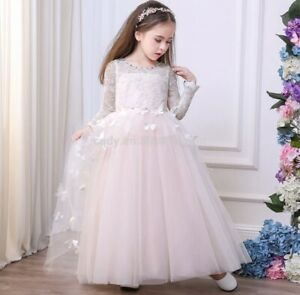 GIRLS PINK LACE SHEER CONTRAST FLORAL PRINT PRINCESS PAGEANT PROM PARTY DRESS