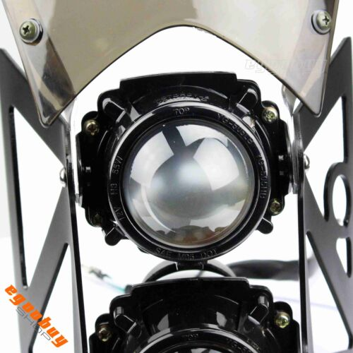 Motorcycle E-mark DOT Street Fighter Projector Dual Headlight With Windscreen