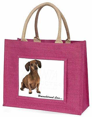 Dackel Hund 'Unconditional Love' Große Rosa Einkaufstasche Weihnachten,