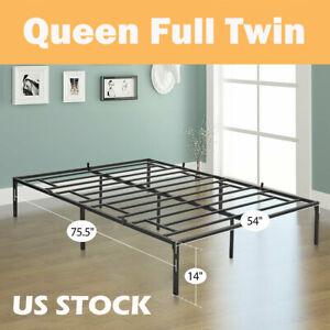 Queen-Full-Twin-Size-Bed-Frame-Heavy-Duty-Mattress-Platform-Folding-Steel-Base