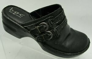 BOC-Born-Concepts-Size-8M-Wedge-Clogs-Mules-Slides-Black-Leather-Buckle-Shoe