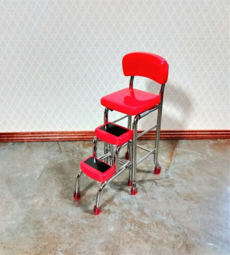 Dollhouse Miniature Step Stool Counter Chair 1950s Style Red 1:12 Scale Retro