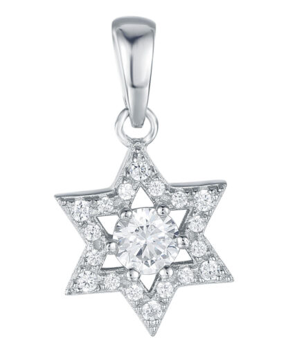 Sterling Silver 925 Blanc Sapphire Star Pendentif