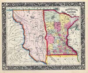 110 maps of North South DAKOTA state PANORAMIC old genealogy HISTORY ...